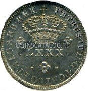 Portugal 80 Reis (LXXX. Tostao) ND KM# 375 Kingdom Milled coinage coin obverse