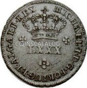 Portugal 80 Reis (LXXX. Tostao) ND KM# 384 Kingdom Milled coinage coin obverse