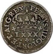 Portugal 80 Reis ND KM# 140 Kingdom Milled coinage LXXX PETRVS.II.D.G.REX.PORTVGAL coin obverse