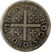 Portugal 80 Reis ND KM# 140 Kingdom Milled coinage IN.HOC.SIGNO.VINCES coin reverse