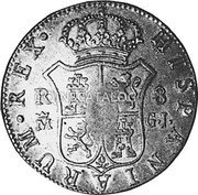 Portugal 870 Reis ND INCM KM# 440.37 Kingdom Countermarked coinage (870 Reis) coin reverse