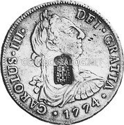 Portugal 870 Reis ND KM# 440.43 Kingdom Countermarked coinage (870 Reis) coin obverse