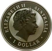 Australia Dollar Kookaburra. Gilded 2002 ELIZABETH II AUSTRALIA 1 DOLLAR coin obverse