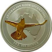 Australia Dollar Kookaburra. Gilded 2002 AUSTRALIAN KOOKABURRA 2002 1 OZ 999 SILVER coin reverse