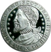 UK ECU King Jacob 1992 Proof X# 13 JACOBVS D G ANG SCOT FRAN ET HIB REX coin reverse