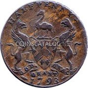 UK Halfpenny (East India House) HALFPENNY GOD GRANT GRACE 1793 coin reverse