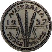 Australia Three Pence Edward VIII (Pattern) 1937 Pattern AUSTRALIA 19 37 K G THREE PENCE coin reverse