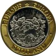 UK Twenty Five ECU Neptune and Europa 1992 X# 11a EUROPE * EUROPA • SCOTLAND coin obverse