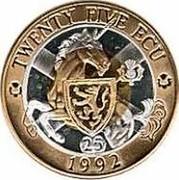 UK Twenty FiVe ECU Neptune and Europa 1992 X# 11 TWENTY FIVE ECU 1992 coin reverse