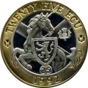 UK Twenty Five ECU Neptune and Europa 1992 X# 11a TWENTY FIVE ECU 1992 coin reverse