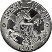 UK Twenty Five ECU Neptune and Europa 1992 X# 15 TWENTY FIVE ECU 1992 coin reverse