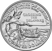 USA 1/4 Dollar (Crossing the Delaware) UNITED STATES OF AMERICA E PLURIBUS UNUM CROSSING THE DELAWARE QUARTER DOLLARั coin reverse