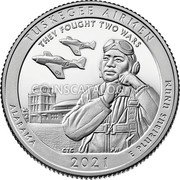 USA 1/4 Dollars (Tuskegee Airmen National Historic Site) TUSKEGEE AIRMEN THEY FOUGHT TWO WARS ALABAMA 2021 E PLURIBUS UNUMั coin reverse