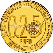 Portugal 1/4 Euro 2010 KM# 794 Euro coinage coin obverse