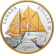 Canada 1 Dollar (100th Anniversary of Bluenose. Gilded) CANADA DOLLAR 1921 2021 coin reverse
