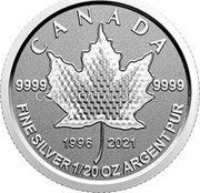 Canada 1 Dollar (25th Anniversary Maple Leaf. Our Arboreal Emblem) 9999 9999 1996 2021 CANADA FINE SILVER 1/20 OZ ARGENT PUR coin reverse