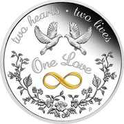 Australia 1 Dollar One Love 2021P Proof TWO HEARTS TWO LIVES ONE LOVE AH P coin reverse