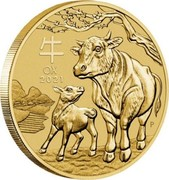 Australia 1 Dollar Year of the Ox 2021 P OX 2021 coin reverse