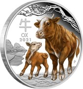 Australia 1 Dollar Year of the Ox. Coloured 2021 P OX 2021 coin reverse