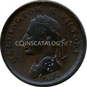 UK 1 Penny British Commonwealth Coins WELLINGTON VICTORY 1814 coin reverse