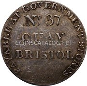 UK 1 Shilling (Somersetshire - Bristol Quay Army &C) PAYABLE AT GOVERNMENT STORES NO. 37 QUAY BRISTOL coin reverse