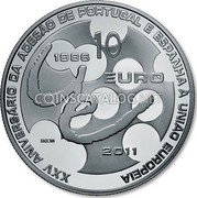 Portugal 10 Euro 2011 Proof KM# 808a Euro coinage coin obverse