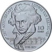 Malta 10 Euro 250th Anniversary of Beethoven's Birth 2020 ☤ 250TH ANNIVERSARY LUDWIG VAN BEETHOVEN 1770-1827 10 EURO NGR coin reverse