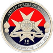 Malta 10 Euro 50th Anniversary of the Armed Forces 2020 ☤ ARMED FORCES OF MALTA 50 YEARS OF SERVICE 1970 - 2020 10 EURO NGR coin reverse