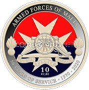 Malta 10 Euro (50th Anniversary of the Armed Forces) ARMED FORCES OF MALTA 50 YEARS OF SERVICE 1970 - 2020 10 EURO NGR coin reverse