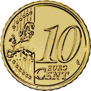 Portugal 10 Euro Cent Second Map 2012 In Sets only KM# 763 10 EURO CENT LL coin reverse