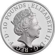 UK 10 Pounds 75th Anniversary of the End of World War II 2020 Proof ELIZABETH II D G REG F D 10 POUNDS J.C coin obverse