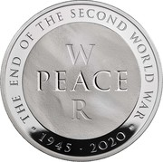 UK 10 Pounds 75th Anniversary of the End of World War II 2020 Proof THE END OF THE SECOND WORLD WAR W PEACE R CD 1945 2020 coin reverse
