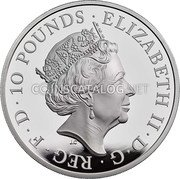 UK 10 Pounds (75th Anniversary of the End of World War II) ELIZABETH II D G REG F D 10 POUNDS J.C coin obverse