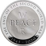 UK 10 Pounds (75th Anniversary of the End of World War II) THE END OF THE SECOND WORLD WAR W PEACE R CD 1945 2020 coin reverse