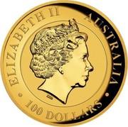 Australia 100 Dollars Australian Wedge-tailed Eagle 2017 P ELIZABETH II AUSTRALIA 100 DOLLARS coin obverse