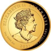 Australia 100 Dollars Winged Victory 2021 P ELIZABETH II AUSTRALIA 1 OZ .9999 AU 2021 100 DOLLARS coin obverse