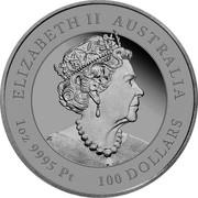 Australia 100 Dollars Year of the Ox 2021 P ELIZABETH II AUSTRALIA 1 OZ 9995 PT 100 DOLLARS coin obverse