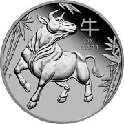 Australia 100 Dollars Year of the Ox 2021 P OX 2021 P coin reverse