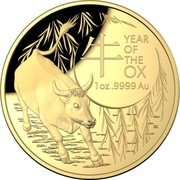 Australia 100 Dollars Year of the Ox 牛 2021 Proof YEAR OF THE OX 1 OZ .9999 AU coin reverse
