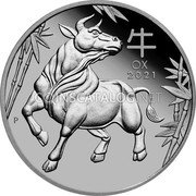 Australia 100 Dollars (Year of the Ox) OX 2021 P coin reverse