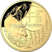 Australia 100 Dollars (Year of the Ox) YEAR OF THE OX 1 OZ .9999 AU coin reverse