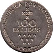 Portugal 100 Escudos Azores Regional Autonomy 1980 KM# 44 REPUBLICA PORTUGUESA 100 ESCUDOS AÇORES coin obverse