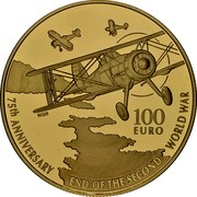 Malta 100 Euro 75th Anniversary of World War II 2020 ☤ 75TH ANNIVERSARY END OF THE SECOND WORLD WAR 100 EURO NGR coin reverse