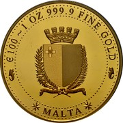 Malta 100 Euro (Melita - National Personification) MALTA € 100 1 OZ 999.9 FINE GOLD coin obverse