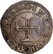 Portugal 100 Reis (Tostao) Filipe II ND KM# 6a IN HOC SIGNO VINCES coin reverse