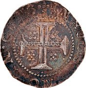 Portugal 100 Reis (Tostao) (Filipe II) IN HOC SIGNO VINCES coin reverse