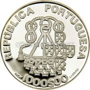 Portugal 1000 Escudos 1998 Proof KM# 708a Republic coin obverse