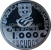Portugal 1000 Escudos 1999 INCM Proof KM# 721a Republic coin obverse