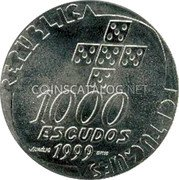 Portugal 1000 Escudos 1999 Proof KM# 715a Republic coin obverse