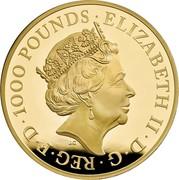 UK 1000 Pounds Griffin of Edward III 2021 Proof ELIZABETH II D G REG F D 1000 POUNDS J.C coin obverse